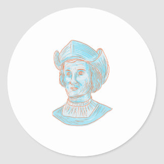 Christopher Colombus Explorer Bust Drawing Classic Round Sticker