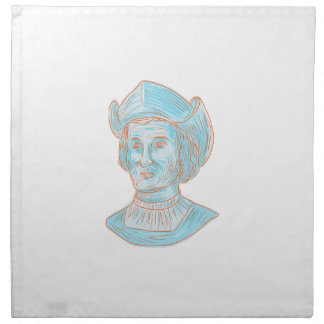 Christopher Colombus Explorer Bust Drawing Napkin