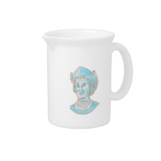Christopher Colombus Explorer Bust Drawing Pitcher