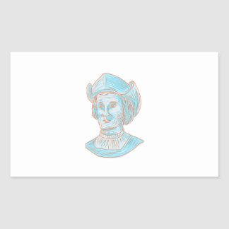 Christopher Colombus Explorer Bust Drawing Rectangular Sticker