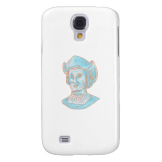 Christopher Colombus Explorer Bust Drawing Samsung Galaxy S4 Cover