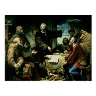 Christopher Columbus in the Monastery of la Postcard