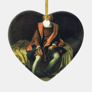 Christopher Columbus paint by Antonio de Herrera Ceramic Heart Decoration
