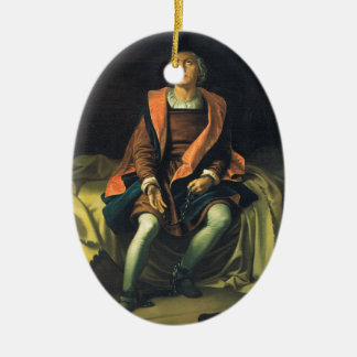 Christopher Columbus paint by Antonio de Herrera Ceramic Oval Decoration