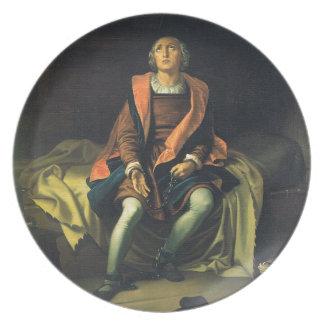 Christopher Columbus paint by Antonio de Herrera Plate