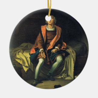 Christopher Columbus paint by Antonio de Herrera Round Ceramic Decoration