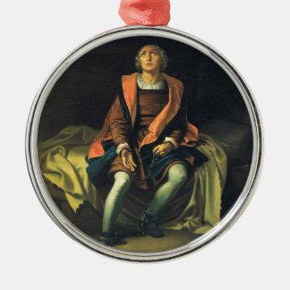 Christopher Columbus paint by Antonio de Herrera Silver-Colored Round Decoration
