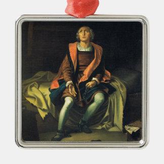Christopher Columbus paint by Antonio de Herrera Silver-Colored Square Decoration