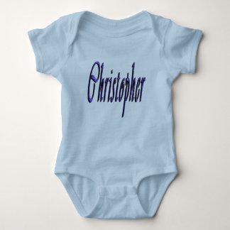 Christopher, Name, Logo, Baby's Blue Bodysuit