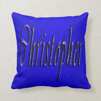 Christopher, Name, Logo, On Blue Mosaic, Cushion