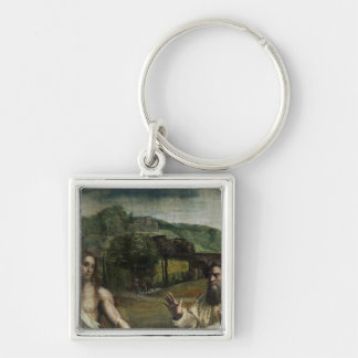 Christ's Charge to St. Peter Silver-Colored Square Key Ring