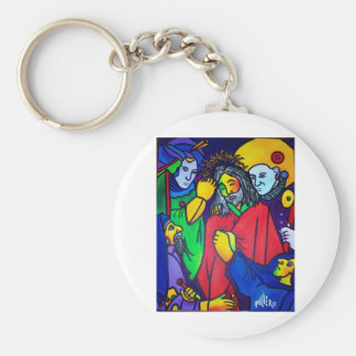 Christ's Passion by Piliero Basic Round Button Key Ring