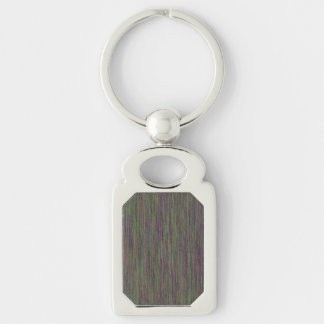 Chroma Denim Look Silver-Colored Rectangle Key Ring