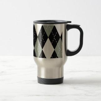 Chromatic Argyle black, grey, white Travel Mug
