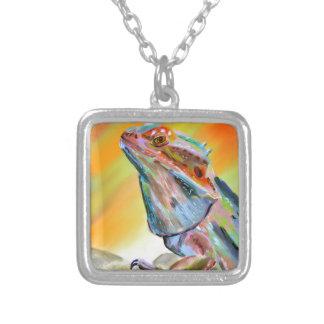 Chromatic Bearded Dragon Digital Paint Square Pendant Necklace
