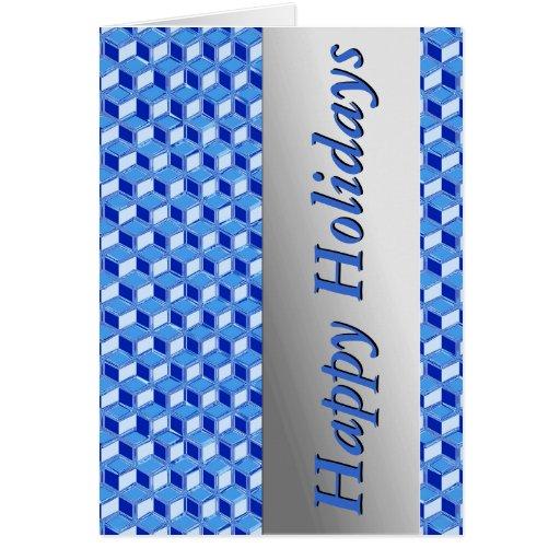Chrome 3-d boxes - cobalt blue greeting card