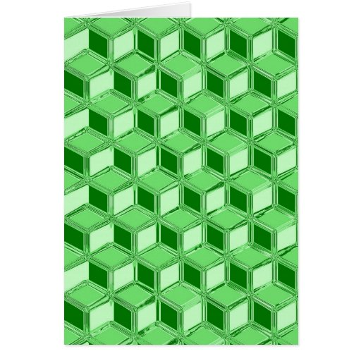 Chrome 3-d boxes - emerald green greeting card