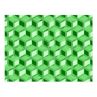 Chrome 3-d boxes - emerald green postcard