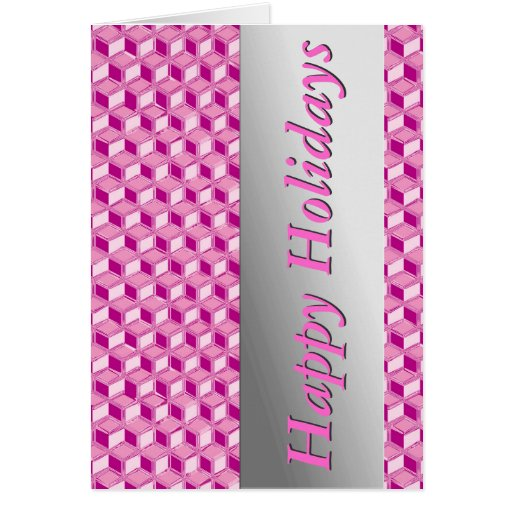 Chrome 3-d boxes - fuchsia pink greeting cards