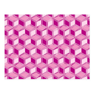 Chrome 3-d boxes - fuchsia pink post card