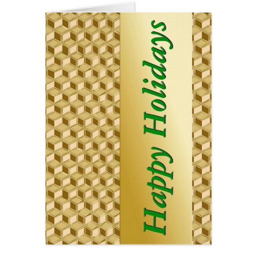Chrome 3-d boxes - gold & green greeting cards