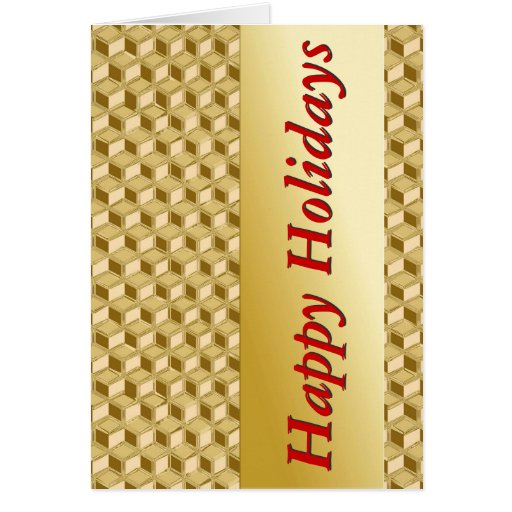 Chrome 3-d boxes - gold & red greeting card