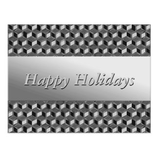 Chrome 3-d boxes - hematite grey post cards