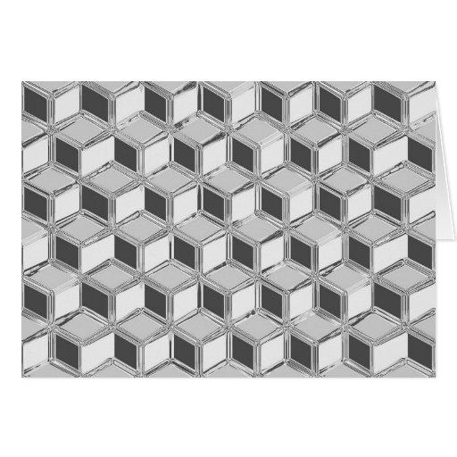 Chrome 3-d boxes - silver grey card