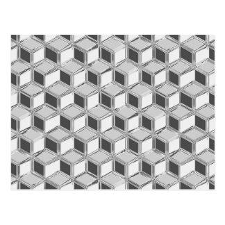 Chrome 3-d boxes - silver grey postcard