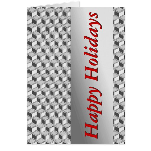 Chrome 3-d boxes - silver grey & red greeting cards