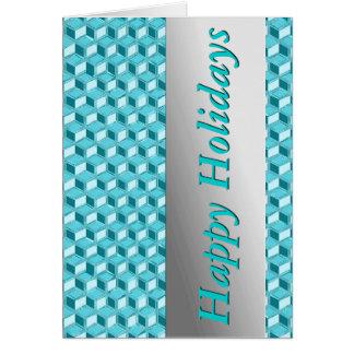 Chrome 3-d boxes - turquoise / aqua cards