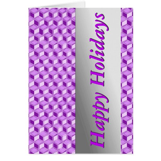 Chrome 3-d boxes - violet purple greeting cards