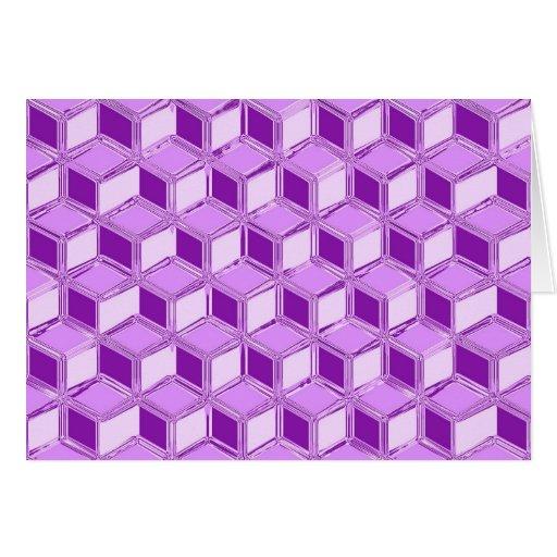 Chrome 3-d boxes - violet purple greeting card