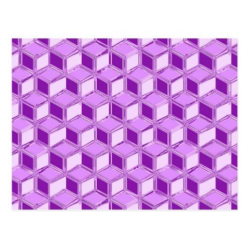 Chrome 3-d boxes - violet purple postcards