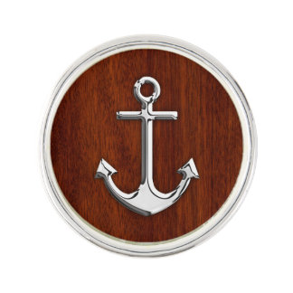 Chrome Anchor on Mahogany Print Lapel Pin