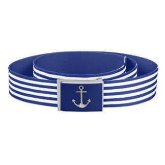 Chrome Anchor on Nautical Navy Blue Stripes Print Belt