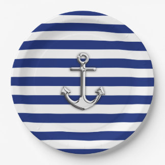 Chrome Anchor on Nautical Navy Blue Stripes Print Paper Plate