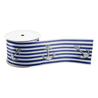 Chrome Anchor on Nautical Navy Blue Stripes Print Satin Ribbon