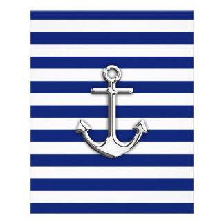 Chrome Anchor on Navy Stripes 11.5 Cm X 14 Cm Flyer