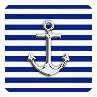 Chrome Anchor on Navy Stripes 13 Cm X 13 Cm Square Invitation Card