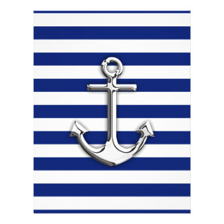 Chrome Anchor on Navy Stripes 21.5 Cm X 28 Cm Flyer