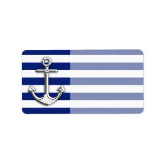 Chrome Anchor on Navy Stripes Address Label