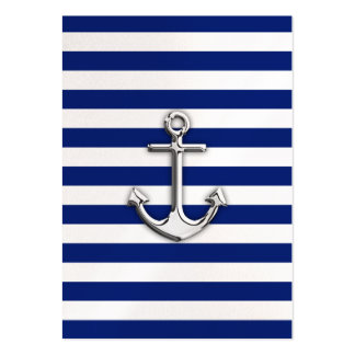 Chrome Anchor on Navy Stripes Business Cards