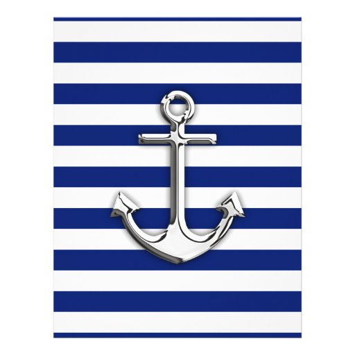 Chrome Anchor on Navy Stripes Flyer