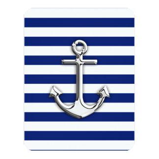 """Chrome Anchor on Navy Stripes 4.25"""" X 5.5"""" Invitation Card"""