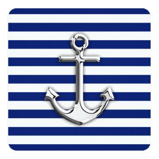 "Chrome Anchor on Navy Stripes 5.25"" Square Invitation Card"