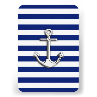 Chrome Anchor on Navy Stripes Personalized Invite