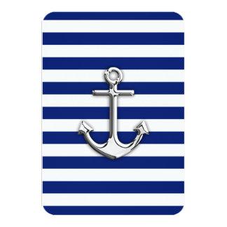 """Chrome Anchor on Navy Stripes 3.5"""" X 5"""" Invitation Card"""