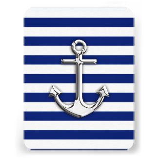 Chrome Anchor on Navy Stripes Personalized Invites