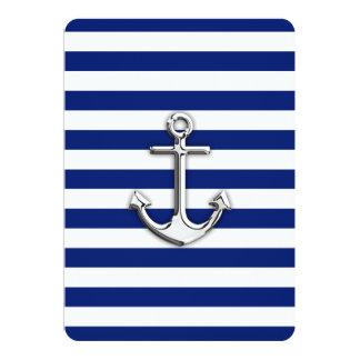 """Chrome Anchor on Navy Stripes 5"""" X 7"""" Invitation Card"""